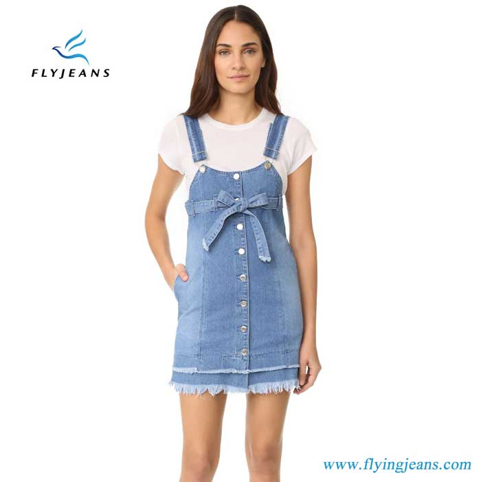 f824b14a371cca Fashionable Women 100% Cotton Denim Dress with Adjustable Overall ...
