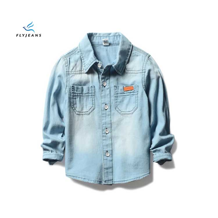 2f741cf9d96 Popular Hot Sale Blue Boys  Long Sleeve Denim Shirt