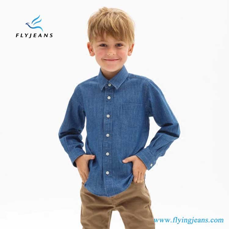 e281434d3cc Popular Hot Sale Slim Blue Boys  Long Sleeve Denim Shirt