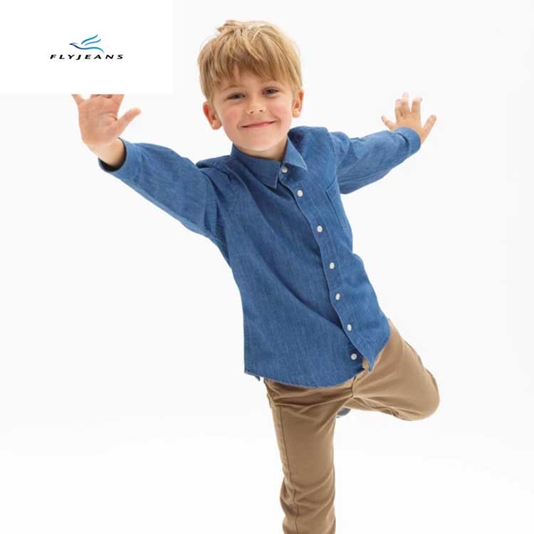 afd6b8d6466 Popular Hot Sale Slim Blue Boys  Long Sleeve Denim Shirt