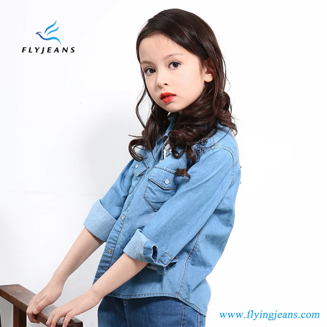 07365124eada New Style Leisure Light Blue Long Sleeve Denim Shirt for Girls
