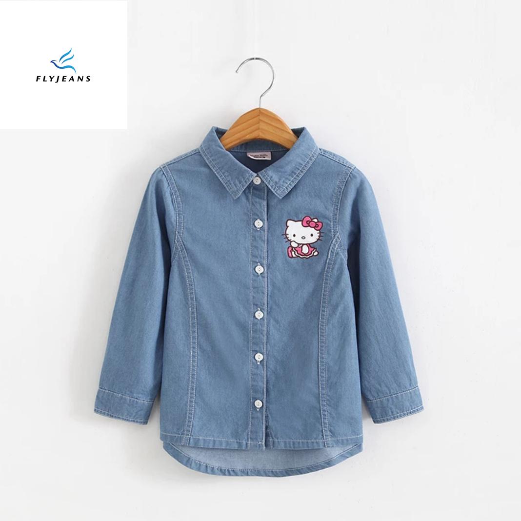 9f2ca93c33fc New Style Leisure Long Sleeve Denim Shirt for Girls